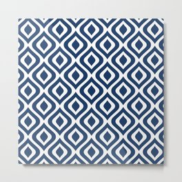 Mid Century Modern Diamond Ogee Pattern 134 Navy Blue Metal Print