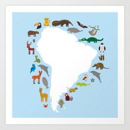 South America sloth anteater toucan lama armadillo manatee monkey dolphin Maned wolf raccoon jaguar Art Print