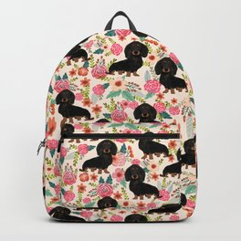 Doxie Florals - vintage doxie and florals gift gifts for dog lovers, dachshund decor, black and tan Backpack