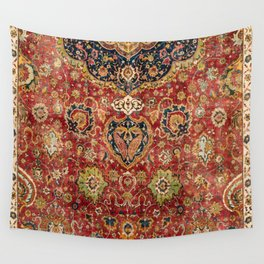 Indian Boho II // 16th Century Distressed Red Green Blue Flowery Colorful Ornate Rug Pattern Wall Tapestry