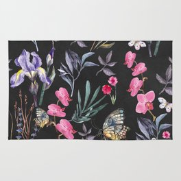 Pattern of plants, flowers and butterflies Rug