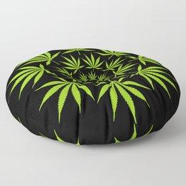 Cannabis Leaf Circle (Black) Floor Pillow