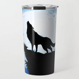 Wolf Howling at Blue Moon Travel Mug