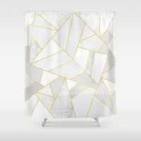 laptop Shower Curtains featuring White Stone by Elisabeth Fredriksson