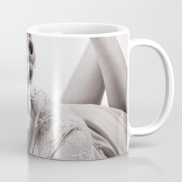 """""""Curlers Before Bed"""" - The Playful Pinup - Lounging in Lace Pin-up Girl by Maxwell H. Johnson Coffee Mug"""