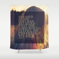 pocketfuel Shower Curtains featuring BELIEVE by Pocket Fuel