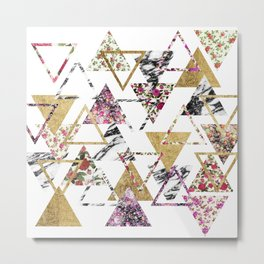 Chic Floral Gold Marble Geometric Triangles Metal Print