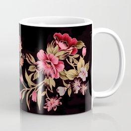 pink folk floral on black background Coffee Mug