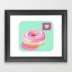 Pink Heart Frosted Donut Framed Art Print