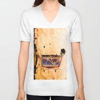 bathroom V-neck T-shirts featuring Monsieur Bone in the bathroom by Joe Ganech
