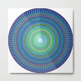 Navy blue round decorative Metal Print
