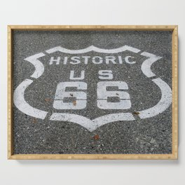 Route 66 sign on the road Serving Tray