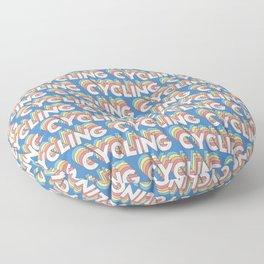 Cycling Trendy Rainbow Text Pattern (Blue) Floor Pillow