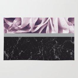 Light Purple Flower Meets Gray Black Marble #1 #decor #art #society6 Rug