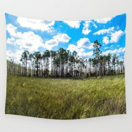 Cypress Trees and Blue Skies Wall Tapestry