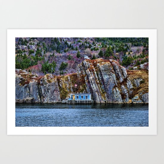Old Fisherman House on water in Newfoundland, canada Art Print
