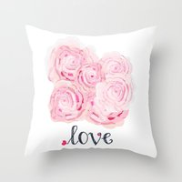 shabby chic Throw Pillows featuring Shabby Chic Rose Bouqet by KarenHarveyCox