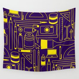 Art Supplies - Eggplant and Yellow Wall Tapestry