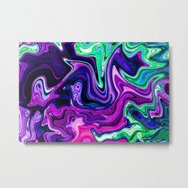 Modern Liquid Art Purple Metal Print