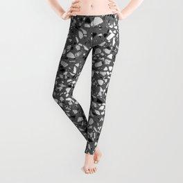 Dark Grey Monochrome Speckles Terrazzo Pattern Stone Effect Leggings