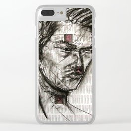 Warrior - Charcoal on Newspaper Figure Drawing Clear iPhone Case