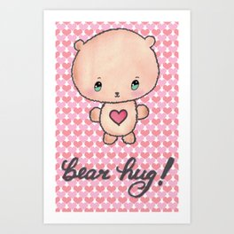 Bear Hug! with Hearts Art Print