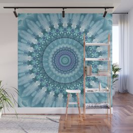 Turquoise and Navy Mandala Wall Mural