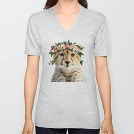 Baby Cheetah With Flower Crown, Baby Animals Art Print By Synplus Unisex V-Neck