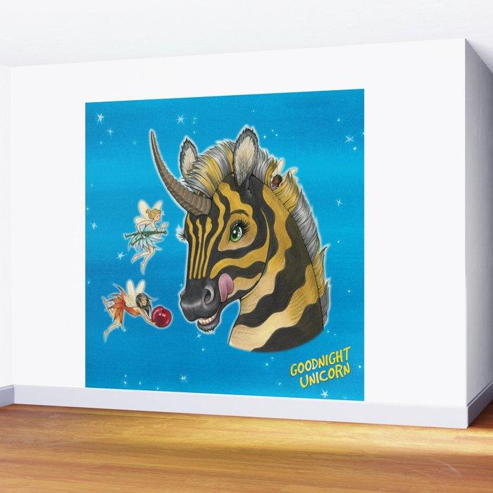 Goodnight Unicorn Zebra Wall Mural by kendystix Society6