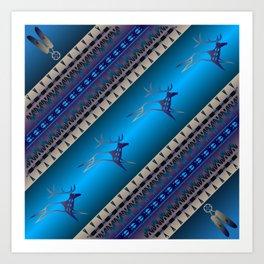 Elk Spirit (Blue) Art Print
