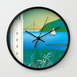 Berkeley, California - Skyline Illustration by Loose Petals Wall Clock