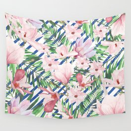 Modern blue white stripes blush pink green watercolor floral Wall Tapestry