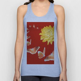 YELLOWISH BROWN DAHLIA FLOWER &  ORANGE BUTTERFLIES ALLURE Unisex Tank Top