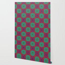 Jewel Tone African Fabric Geometry Wallpaper