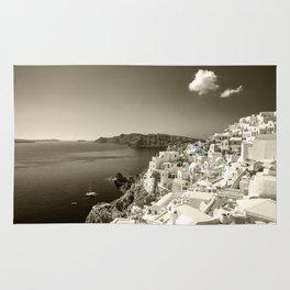 Santorini Seascape in sepia Rug