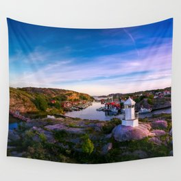 Sunset over old fishing port - Aerial Photography Wall Tapestry