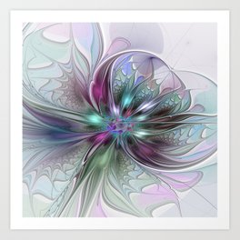 Colorful Fantasy Abstract Modern Fractal Flower Art Print