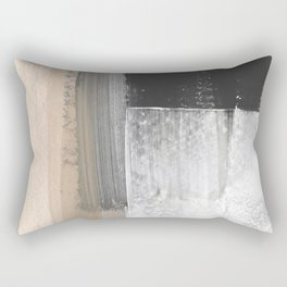 Beige and Grey Colorblock Textured Abstract Painting Rectangular Pillow