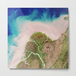 Yukon River Delta Alaska USA - High resolution satellite view of Earth from Space - Color Metal Print