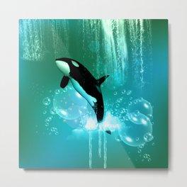 Awesome orca Metal Print