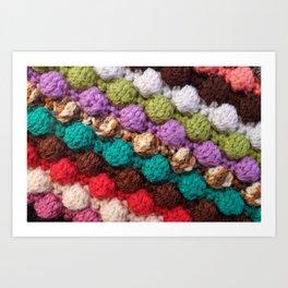 Bobbly colourful knitting craft background Art Print