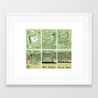 poem Framed Art Prints featuring Dinosaur Poem by MadeleineFlores