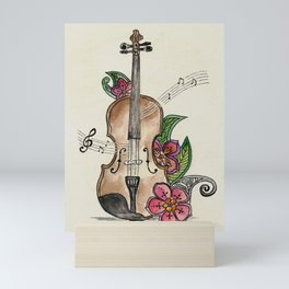 Violin and Flowers Mini Art Print