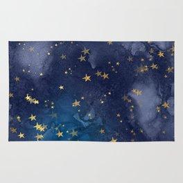 Gold stardust night sky Rug