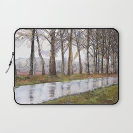 """Landscape Of A Road Fine Art Watercolor Painting  """"The Road Not Traveled"""" Laptop Sleeve"""