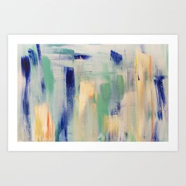 Calm blue fire: minimal, acrylic abstract art in indigo, teal and rose gold / Original Painting Art Print