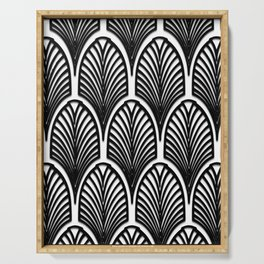 Art deco,Black and white pattern, vintage,nouveau,chic and elegant, belle époque,fan pattern Serving Tray