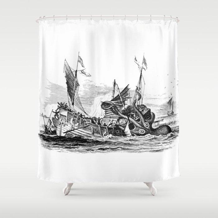 1810 vintage nautical octopus steampunk kraken sea monster drawing print Denys de Montfort retro Shower Curtain by igallery