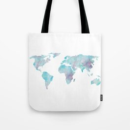 World Map Ocean Blue Tote Bag