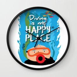 Diving is my happy place Wall Clock